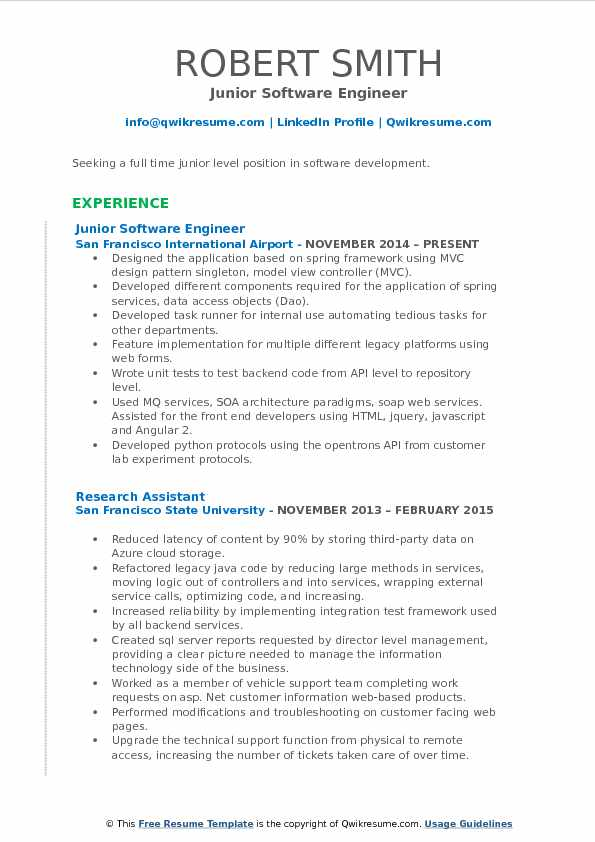 junior software engineer resume samples qwikresume entry level pdf beautiful templates Resume Entry Level Software Engineer Resume