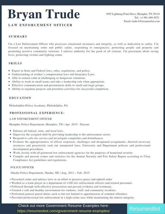 law enforcement resume samples templates pdf resumes bot police officer examples example Resume Police Officer Resume Examples