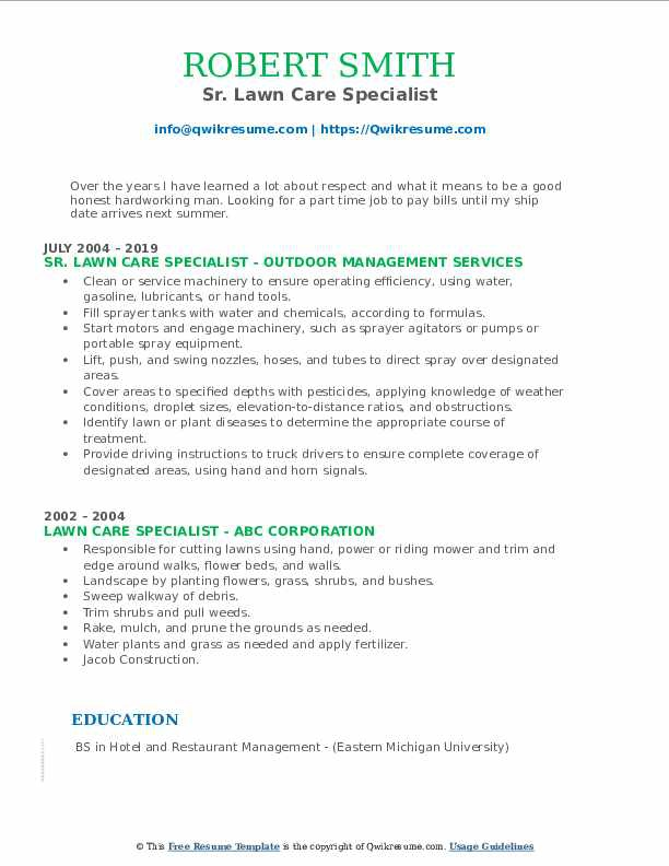lawn care resume line 17qq specialist ghsfhhmmmqy sharon making services best format for Resume Lawn Care Specialist Resume