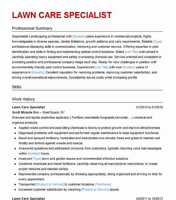 lawn care specialist resume example resumes livecareer executive summary oracle fusion Resume Lawn Care Specialist Resume
