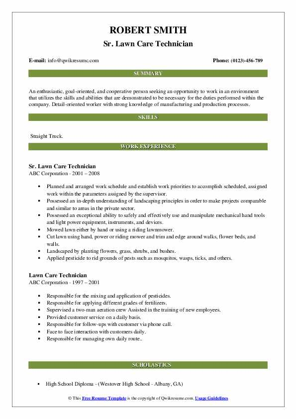 lawn care technician resume samples qwikresume specialist pdf assistance los angeles Resume Lawn Care Specialist Resume
