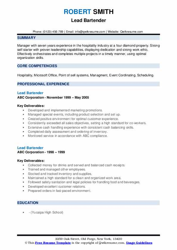 lead bartender resume samples qwikresume skills and qualities pdf need cover letter best Resume Skills And Qualities For Resume