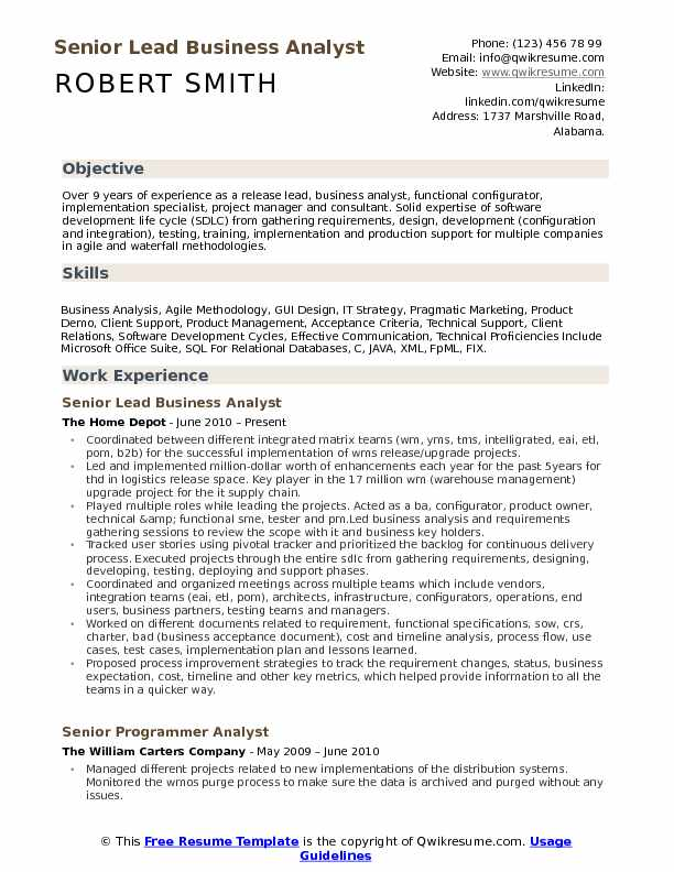 lead business analyst resume samples qwikresume sample for experienced years pdf best Resume Sample Resume For Experienced Business Analyst 2 Years
