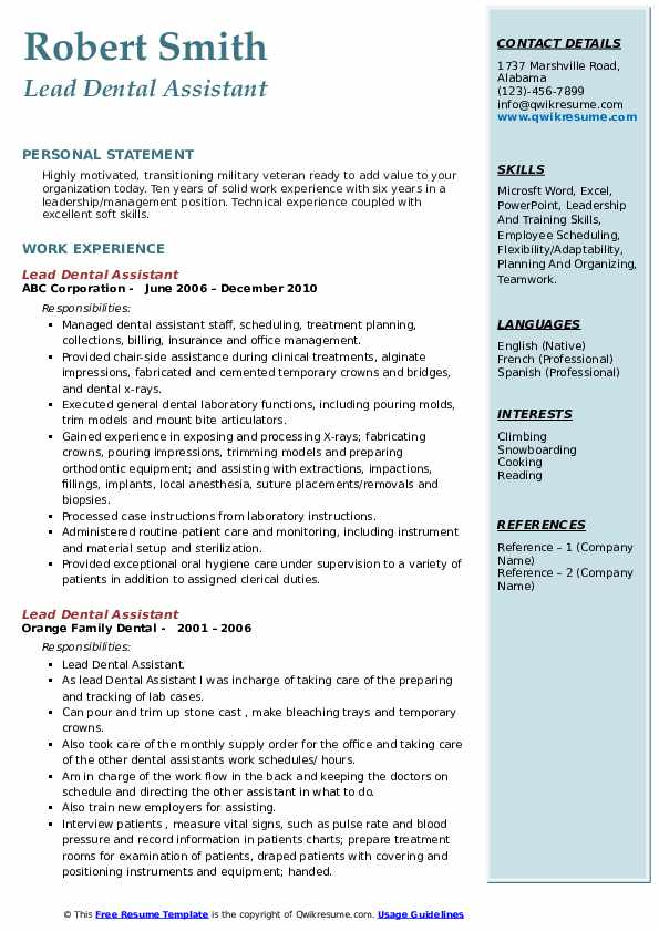 lead dental assistant resume samples qwikresume experience pdf general fired from job Resume Experience Dental Assistant Resume