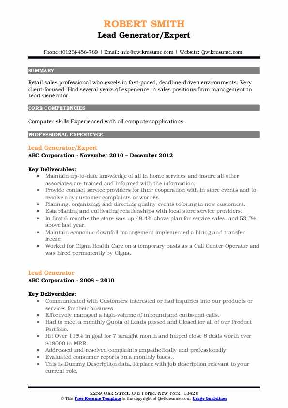 lead generator resume samples qwikresume summary pdf volleyball coach chemical entry Resume Summary For Resume Generator