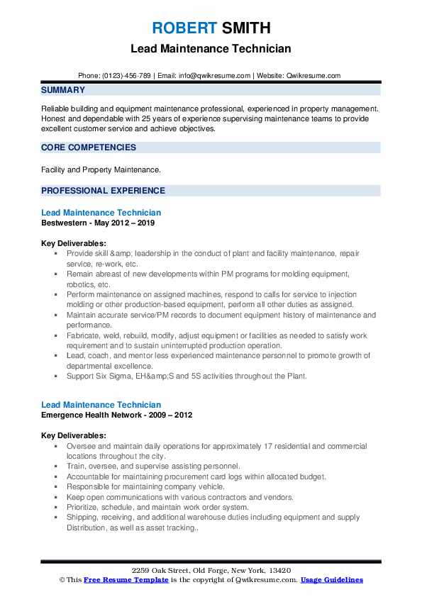 lead maintenance technician resume samples qwikresume examples for pdf best Resume Resume Examples For Maintenance Technician