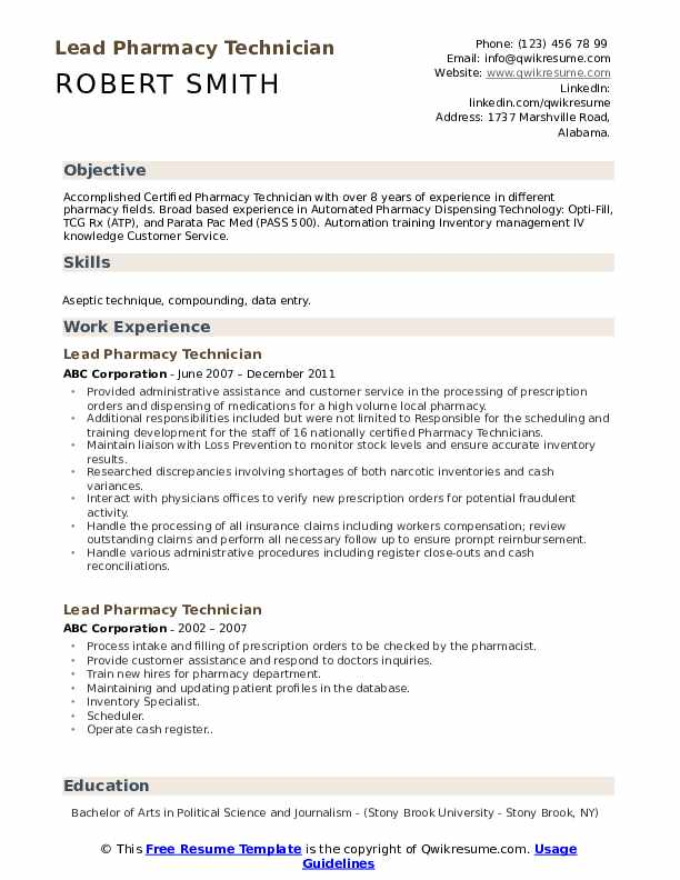 lead pharmacy technician resume samples qwikresume certified pdf elevator pitch examples Resume Certified Pharmacy Technician Resume