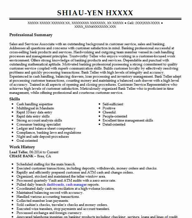 lead resume example resumes livecareer description for bank examples owl sqa sample psecu Resume Resume Description For Bank Teller