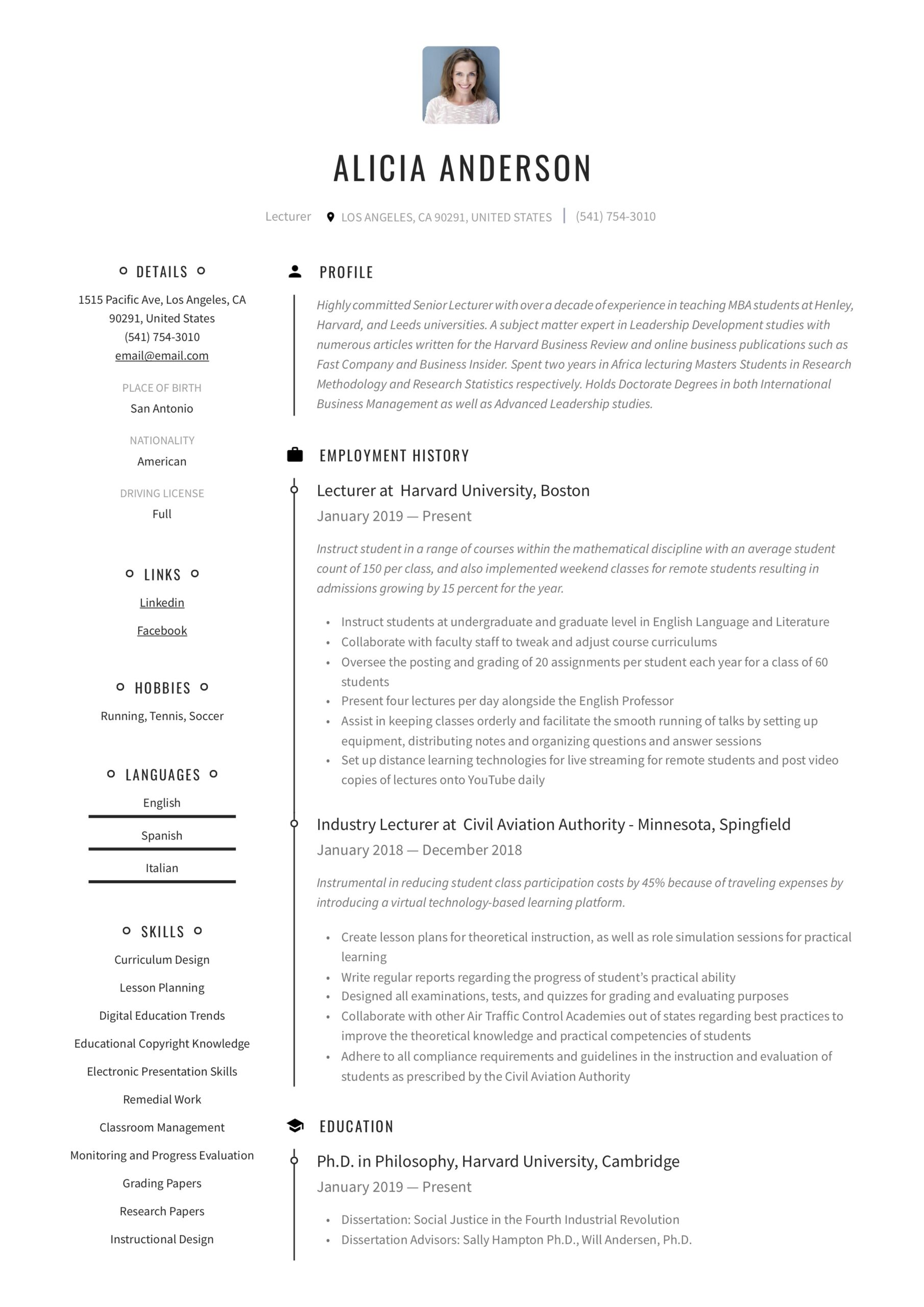 lecturer resume writing guide free examples chemistry professor maintenance manager Resume Chemistry Professor Resume