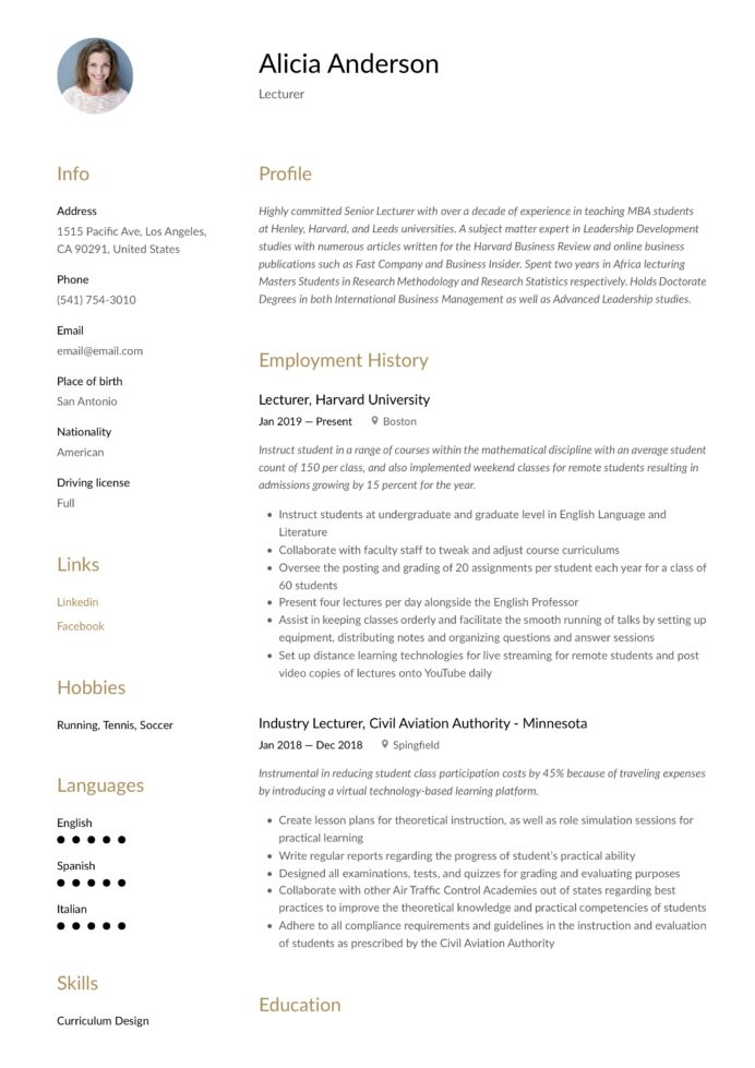 lecturer resume writing guide free examples experience driver helper sample millennial Resume Millennial Resume Format