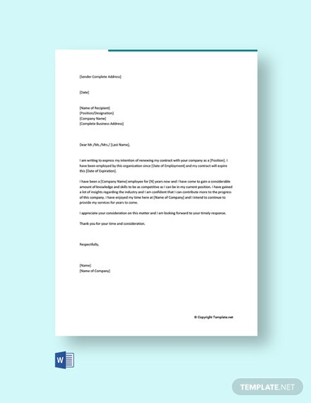 letter template of intent to renew contract free pdf word employee extension resume nicu Resume Employee Contract Extension Letter Resume