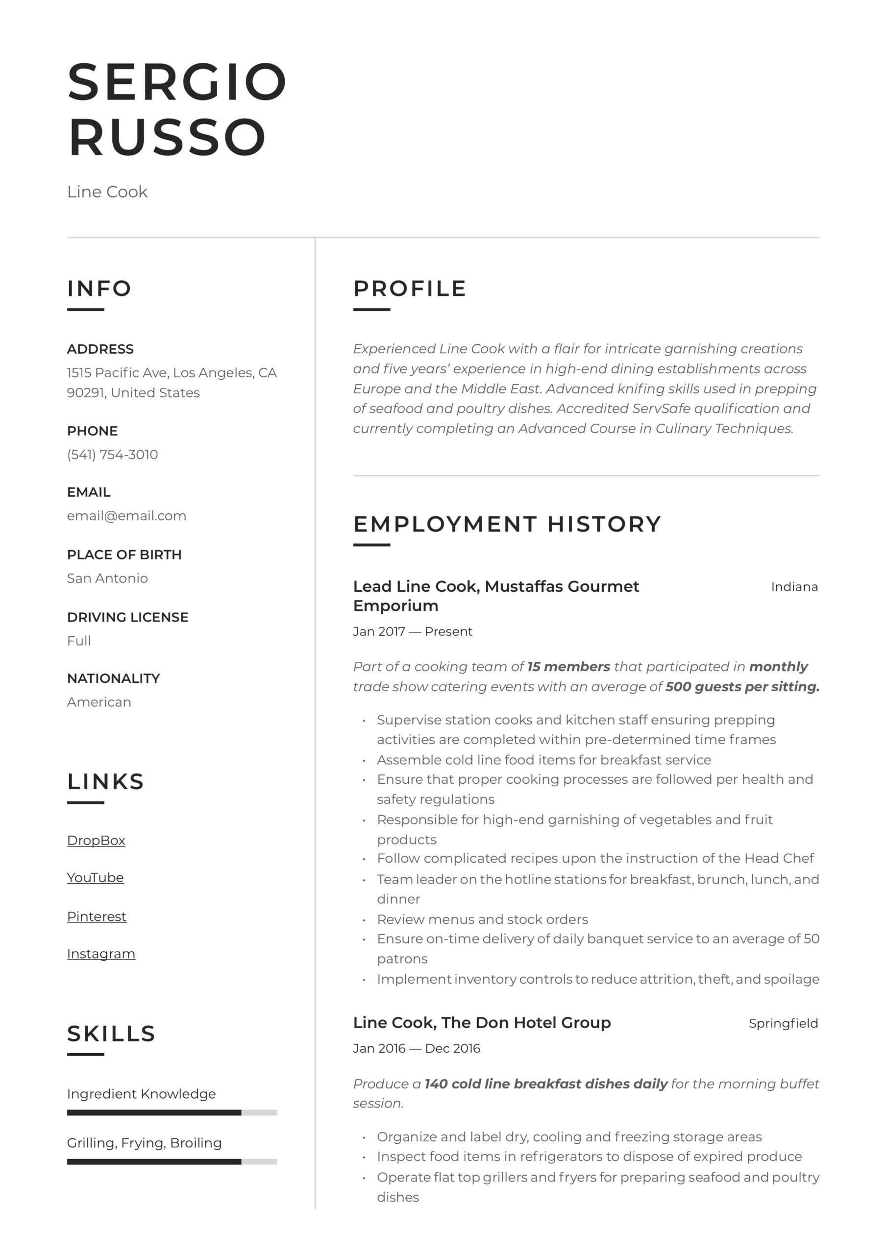line resume writing guide examples job description for umn cse standard functional Resume Line Cook Job Description For Resume