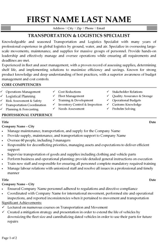 logistic specialist resume sample template us customs examples lg transportation Resume Us Customs Resume Examples
