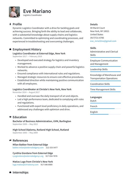 logistics coordinator resume examples writing tips free guide financial services about Resume Logistics Coordinator Resume
