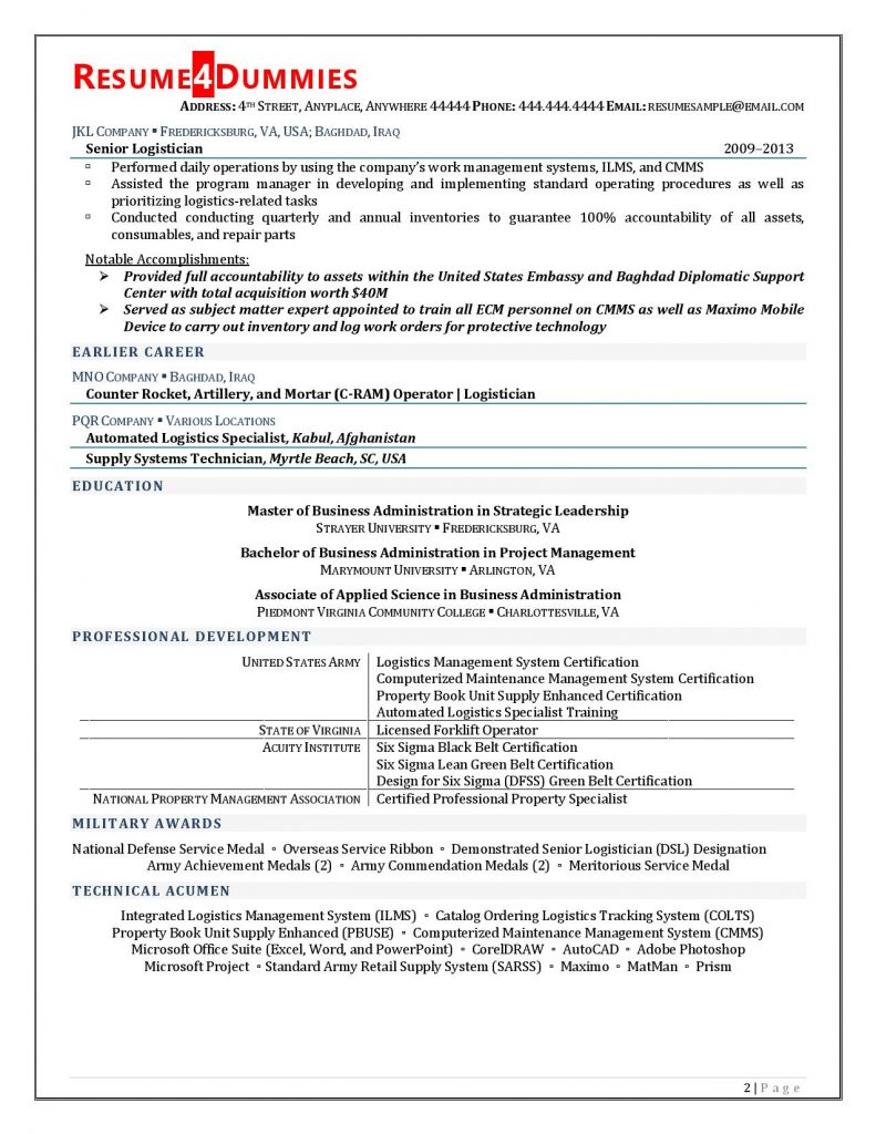 logistics manager resume example resume4dummies examples 791x1024 office job skills for Resume Logistics Resume Examples