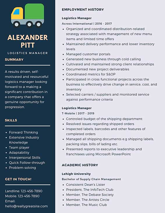 logistics manager resume samples templates pdf word resumes bot examples example Resume Logistics Resume Examples