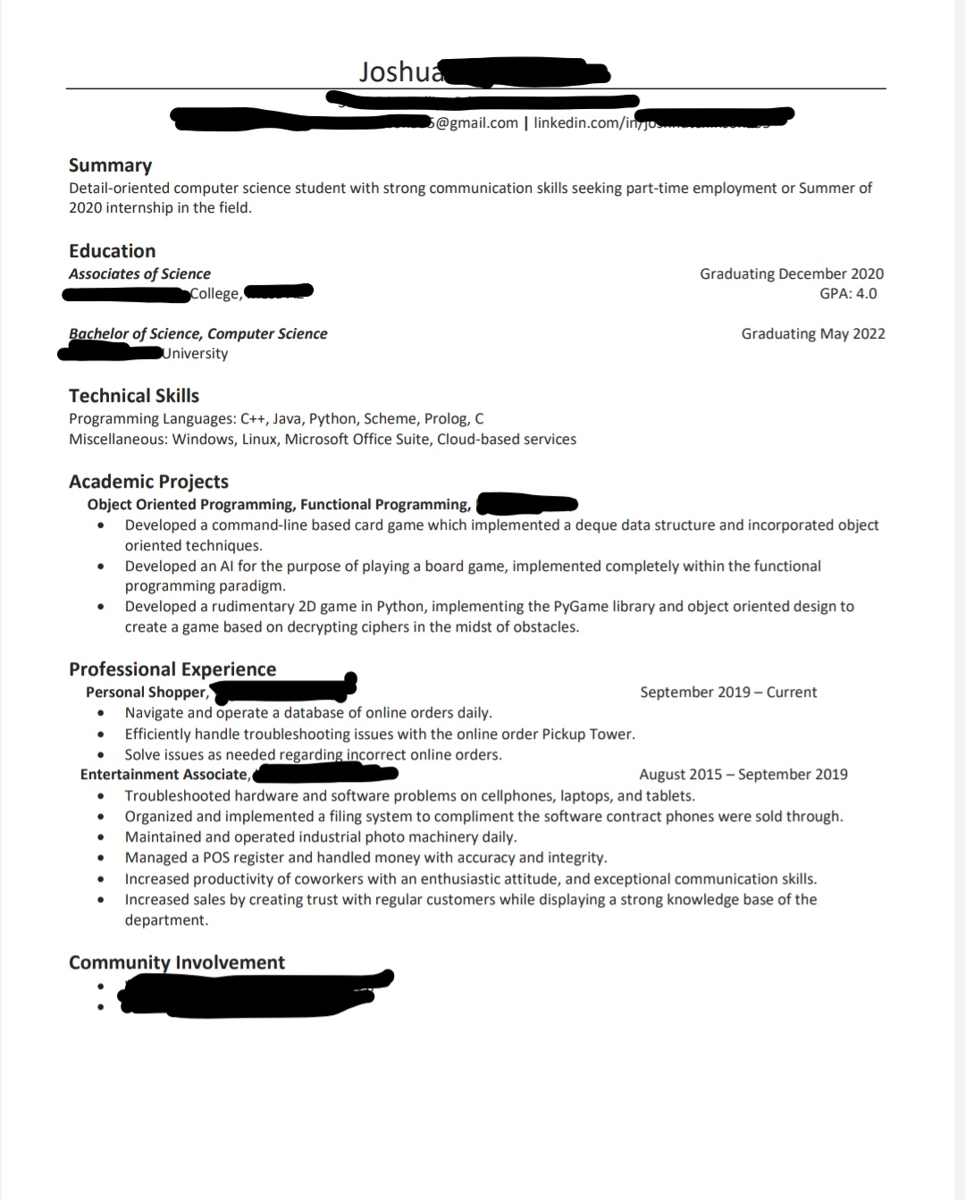 looking for feedback on first computer science student resume resumes intern 9vhhlkj occc Resume Computer Science Intern Resume