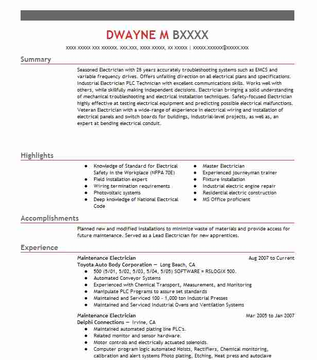 maintenance electrician resume example livecareer electrical format words for project Resume Electrical Maintenance Resume Format