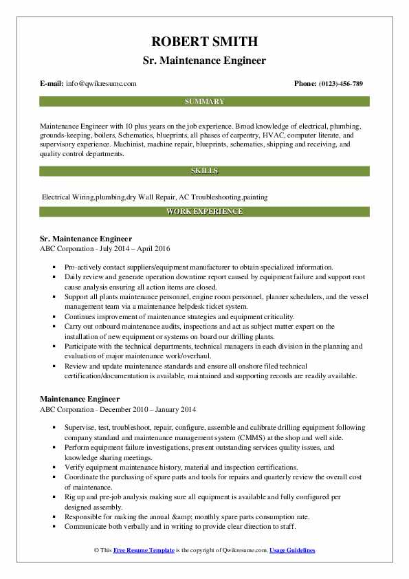 maintenance engineer resume samples qwikresume pdf for nursing job writer direct upload Resume Maintenance Engineer Resume