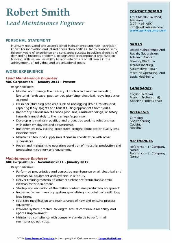 maintenance engineer resume samples qwikresume pdf scholarship outline fine dining waiter Resume Maintenance Engineer Resume