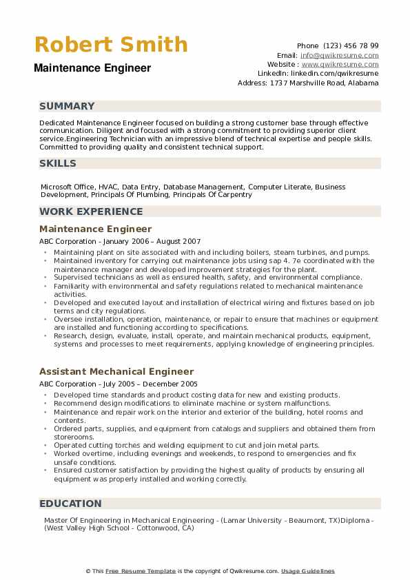 maintenance engineer resume samples qwikresume sample pdf with not much work experience Resume Maintenance Resume Sample