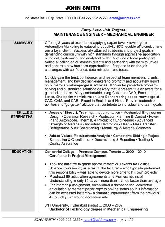 maintenance or mechanical engineer resume template want it engineering templates Resume Electronics Quality Engineer Resume
