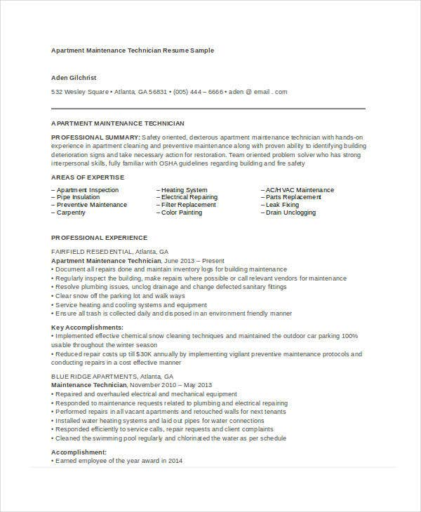 maintenance resume free word pdf documents premium templates sample for apartment Resume Sample Resume For Apartment Maintenance Technician