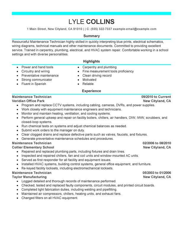 maintenance technician resume examples created by pros myperfectresume sample for Resume Sample Resume For Apartment Maintenance Technician