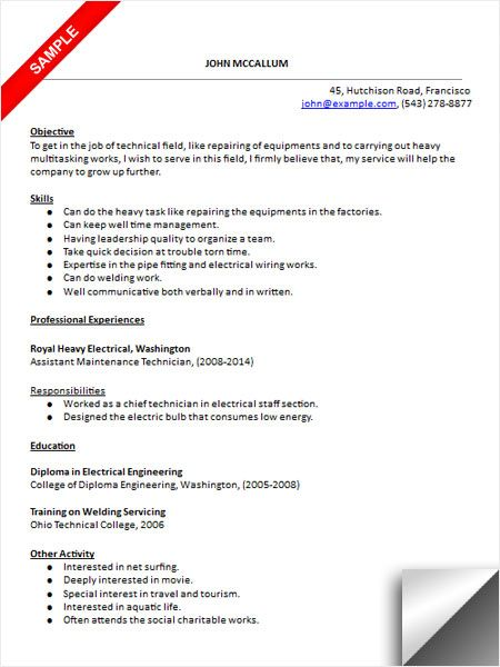 maintenance technician resume sample examples templates for red team classic layout Resume Resume Examples For Maintenance Technician