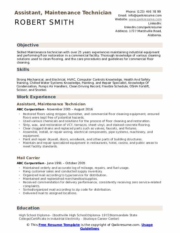 maintenance technician resume samples qwikresume template pdf radio broadcasting cover Resume Maintenance Technician Resume Template