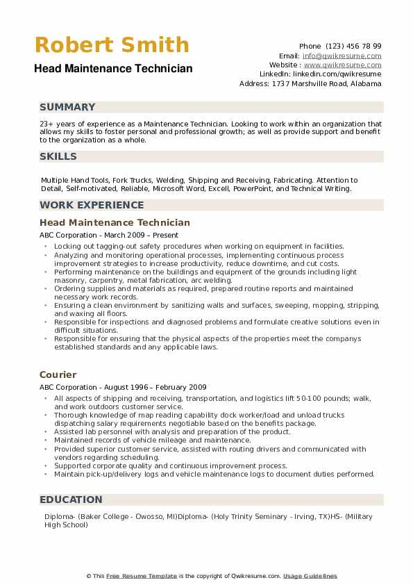 maintenance technician resume samples qwikresume template pdf skills summary customer Resume Maintenance Technician Resume Template