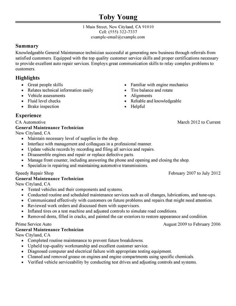 maintenance technician resume template for microsoft word livecareer general automotive Resume Maintenance Technician Resume Template