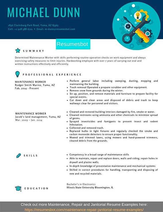 maintenance worker resume samples templates pdf resumes bot examples for technician Resume Resume Examples For Maintenance Technician