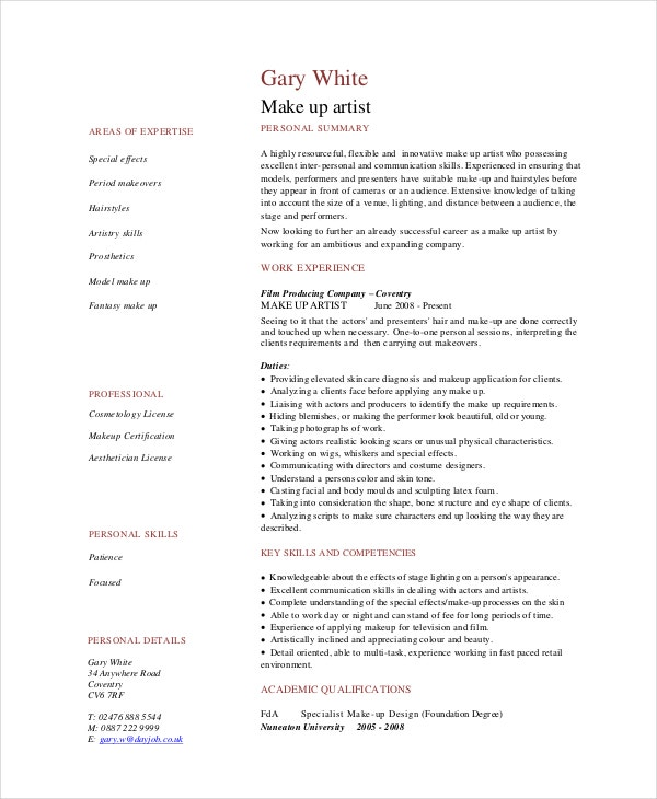 makeup artist resume templates pdf free premium template professional does include cover Resume Makeup Artist Resume Template
