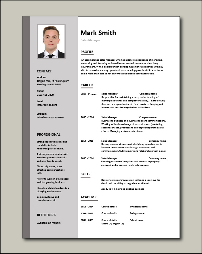manager cv example dayjob resume template free writing samples for freshers technical Resume Sales Manager Resume Template