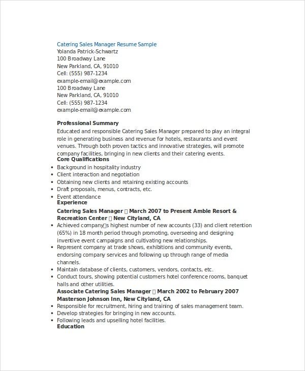 manager resume template free word pdf documents premium templates catering resume1 office Resume Sales Manager Resume Template