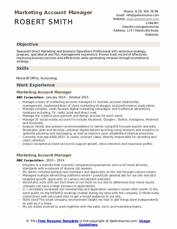 marketing account manager resume samples qwikresume sample pdf special education Resume Account Manager Resume Sample