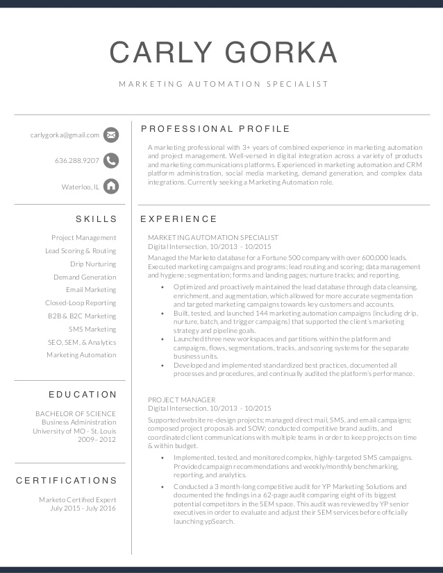 marketing automation specialist resume carly gorka email courier material expeditor Resume Email Marketing Specialist Resume