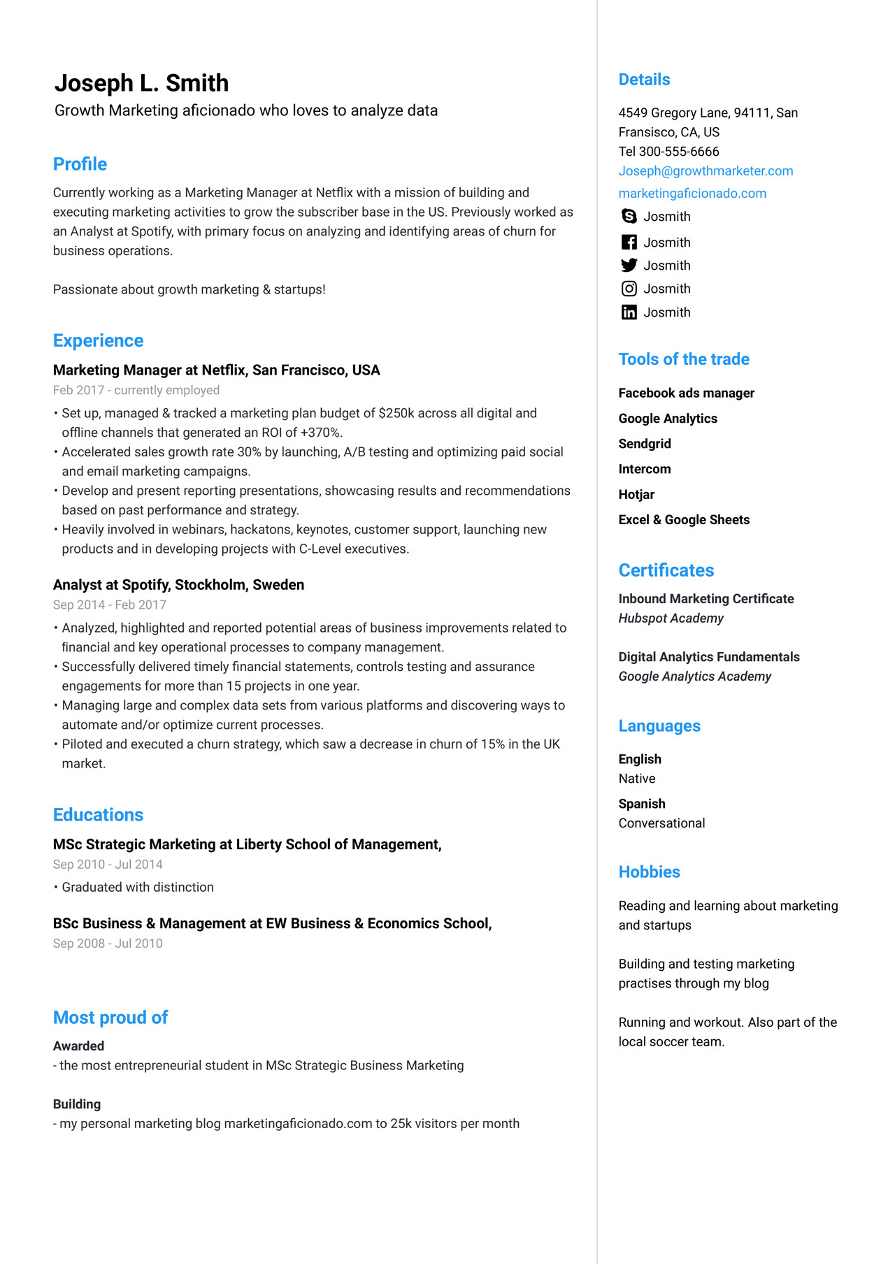 marketing manager resume example guide jofibo examples writer seattle ceo fired for lying Resume Marketing Resume Examples 2020