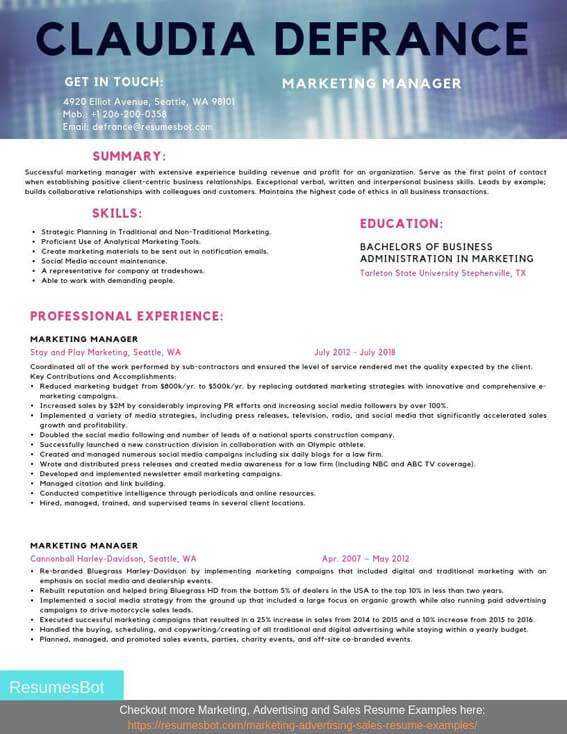 marketing manager resume samples and tips pdf resumes bot email example security guard Resume Email Marketing Manager Resume