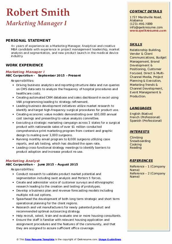 marketing manager resume samples qwikresume personal pdf cover letter or first Resume Personal Marketing Resume