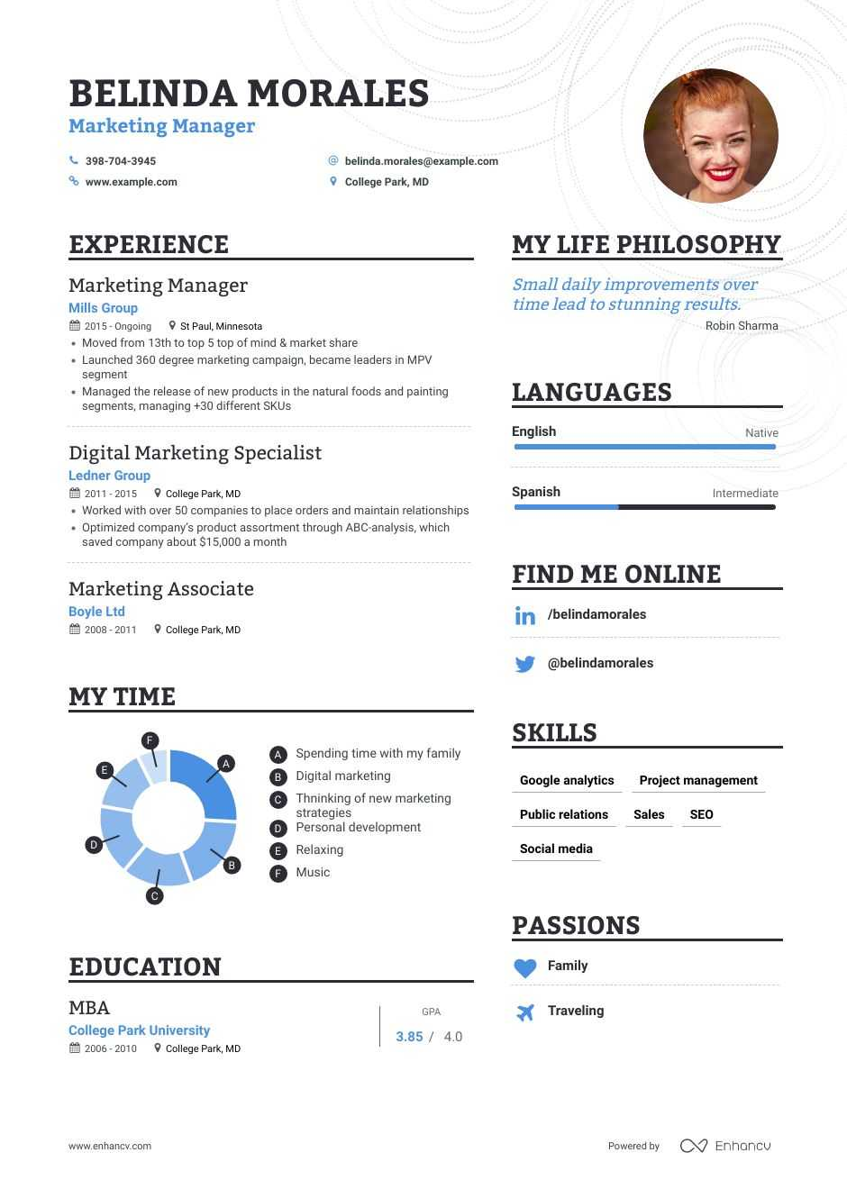 marketing manager resume samples step by guide for enhancv examples data analyst template Resume Marketing Resume Examples 2020