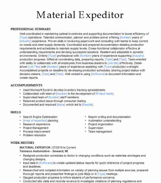 material expeditor resume example urs corporation rc professional writers finance csulb Resume Material Expeditor Resume