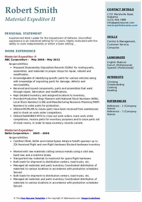 material expeditor resume samples qwikresume pdf food pantry worker psychology internship Resume Material Expeditor Resume