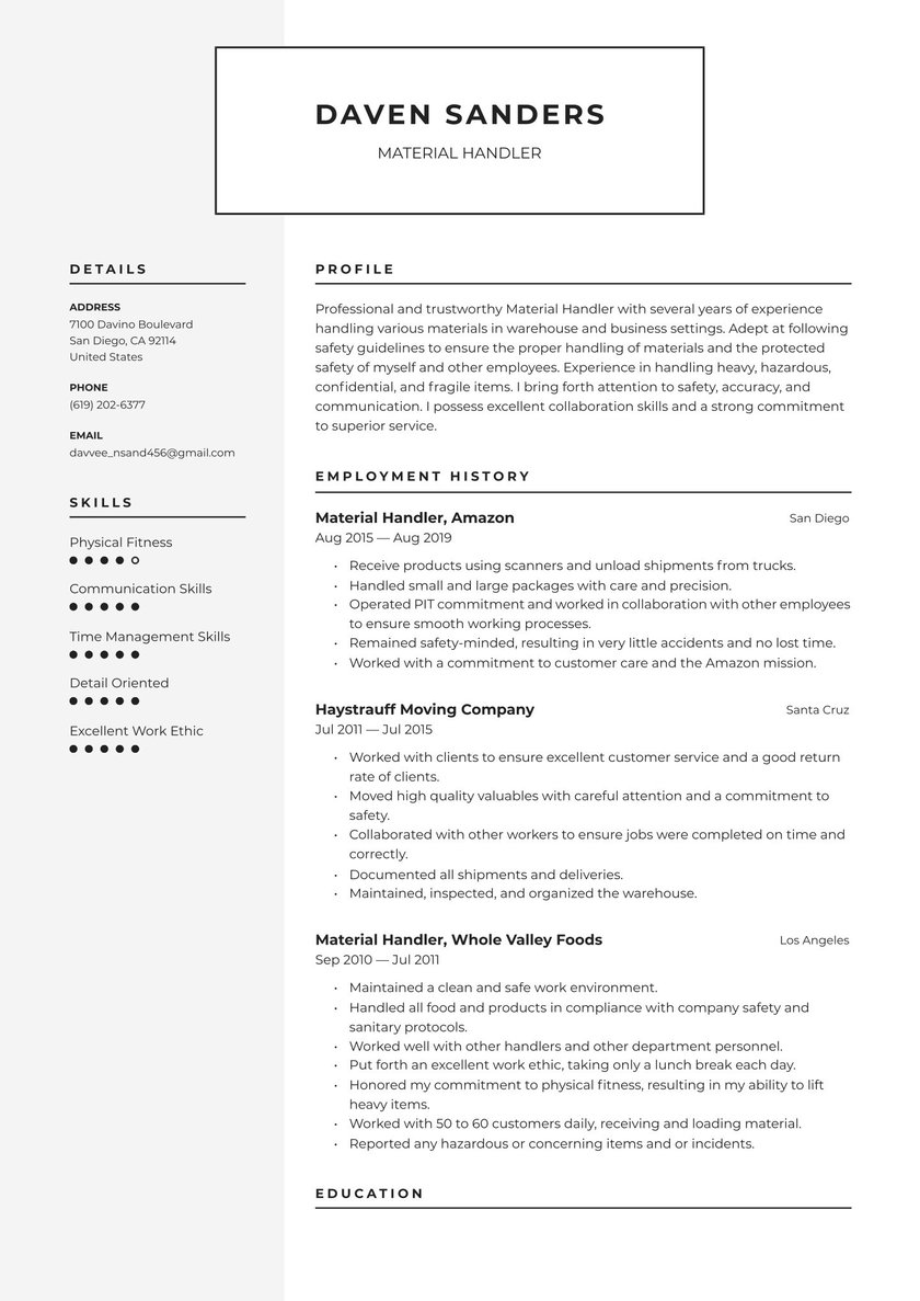material handler resume examples writing tips free guide moving company marketing Resume Moving Company Resume Examples