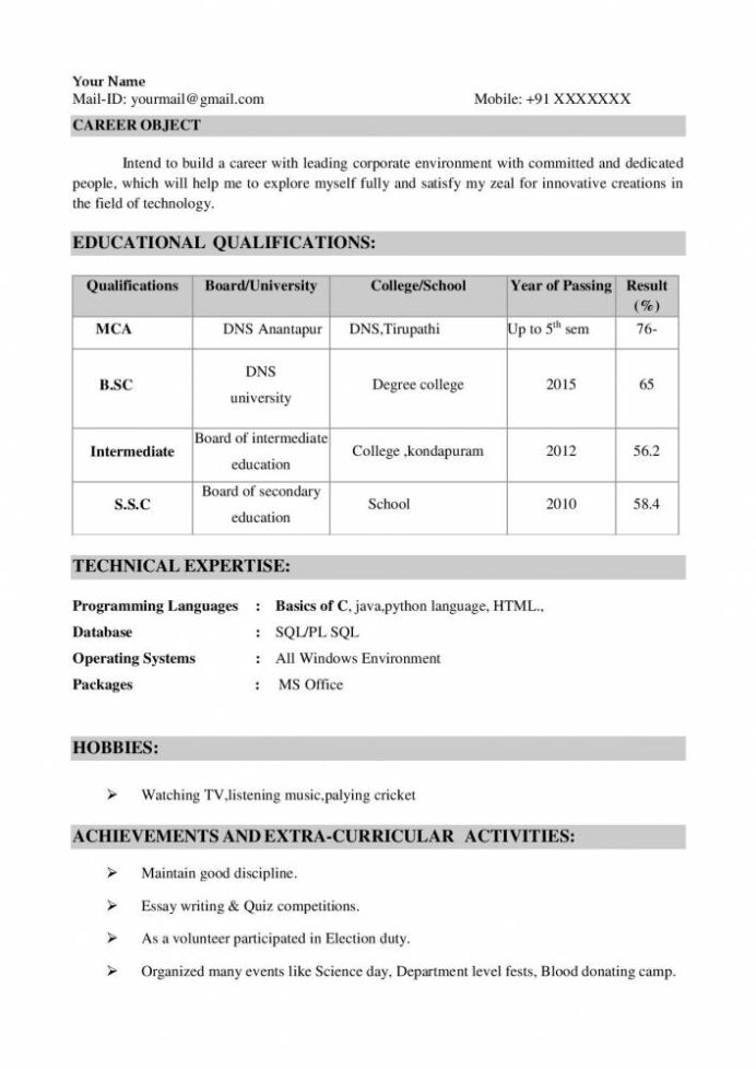 mca freshers resume sample in word format fresher samples projects now entry level Resume Mca Fresher Resume Format Free Download