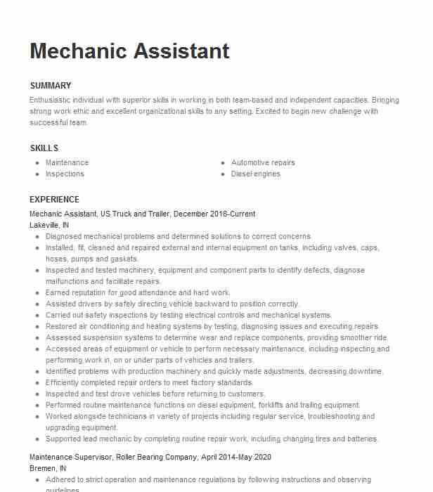 mechanic assistant resume example resumes livecareer mechanical helper professional Resume Mechanical Helper Resume