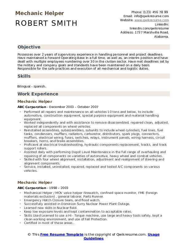mechanic helper resume samples qwikresume mechanical pdf template brand manager first job Resume Mechanical Helper Resume