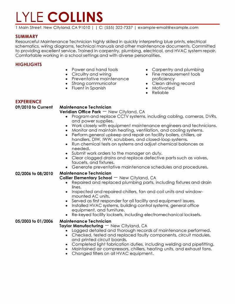 mechanic job description resume awesome maintenance technician sample examples summary Resume Maintenance Technician Resume Template