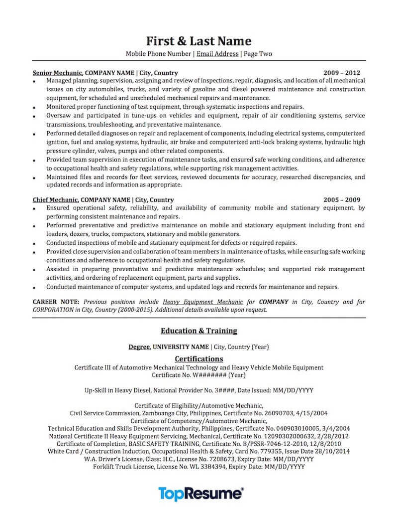 mechanic resume sample professional examples topresume automotive skills for services Resume Automotive Skills For Resume